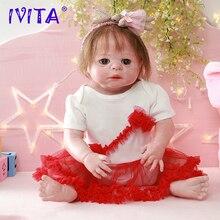 IVITA DS1814 full silicone reborn baby doll realista vinyl newborn princess with planted hair toddler girls toys for children все цены