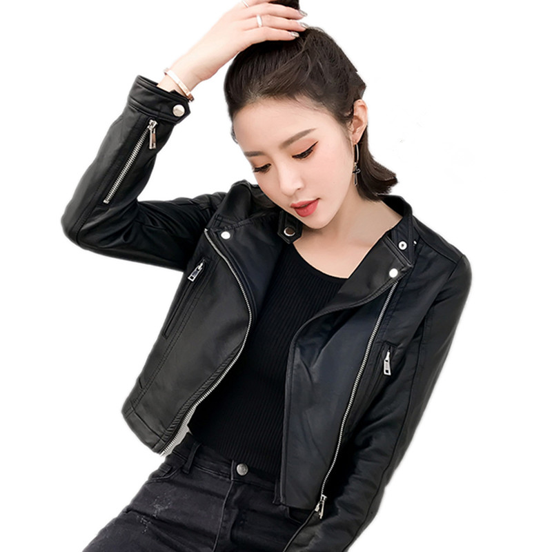 2018 Spring Women Faux Soft Leather Jacket Long Sleeve Black Biker Coat High Quality Zipper Design Motorcycle PUJacket Female