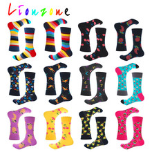LIONZONE Winter Warm Women Socks Unisex Rainbow Cherry Crane Pineapple Lemon Harajuku Colorful Funny Cotton Crew