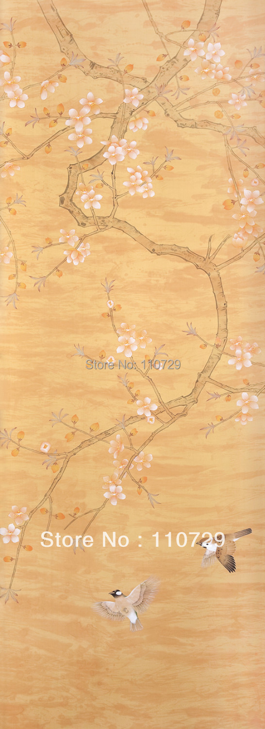 Home decoration wall material Hand-painted silk wallpaper painting Peach silk wallcover sticker many pictures optional diy beads painting flower cross stitch wall decoration