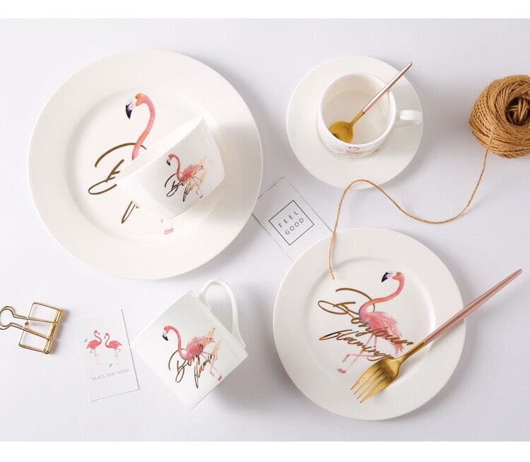 Elegant Pink Flamingo Ceramics Plate  Tableware Dishes Dinner Plates Crockery Pottery Dishes  For Party Gift Dishes Plates