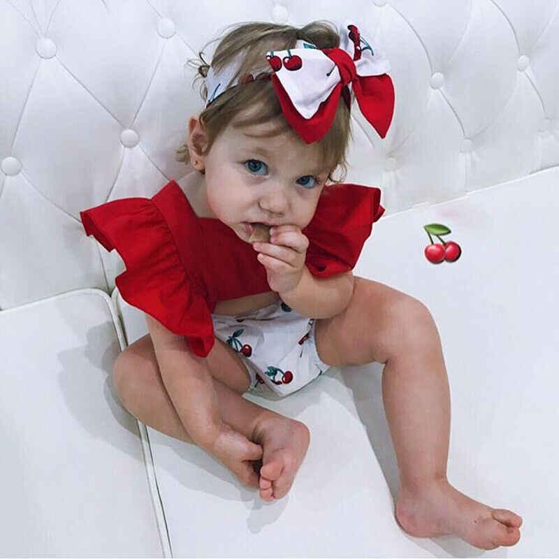 2019 Zomer baby meisje kleding set Backless Cherry Romper + Hoofdband Ruche Grote Boog meisje kleding Pasgeboren Outfits