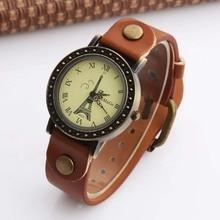 цена на WOMAGE Watch Fashion Women Watches Vintage Cow Leather Quartz Watches Paris Eiffel Tower Watch dames horloges montre femme