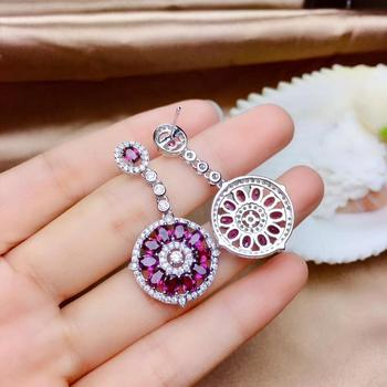 shinning fashion circle red garnet gemstone earring set for women silver fine jewelry natural gem wine red color birthstone gift