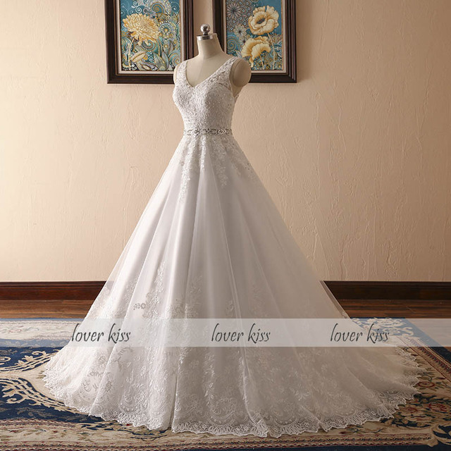 New Design A Line Lace Wedding Dress  V Neck Beaded Sash Backless Sexy Vintage  Gowns Wedding Dress
