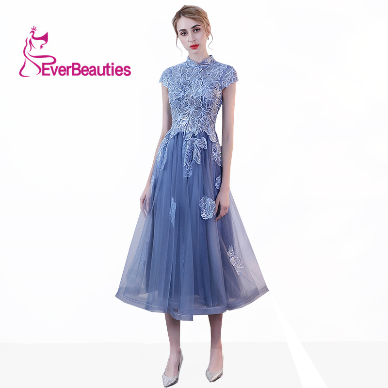 Evening Dress Long High Neck Cap Sleeve Lace Appliques Sequins Elegant Party Dresses Gowns Vestidos Para Fiesta Largos Mujer