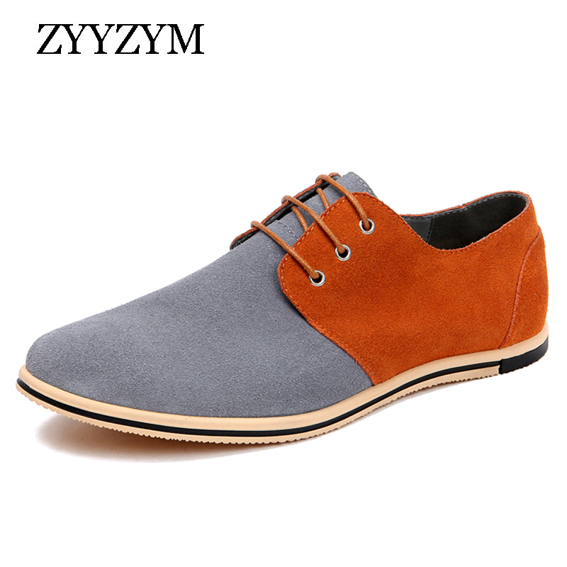 ZYYZYM Casual Shoes For Men Large Size 38-49   Suede     Leather   Lace-up Style Spring/autumn Fashion Fight Color With Flat Men Shoes