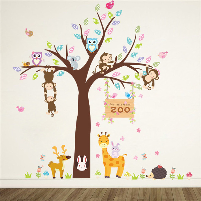 Zoo Animals Tree Giraffe Deer Cute Poster Decorative Kids Baby Nursery Home Decorations Mural Decor Decal