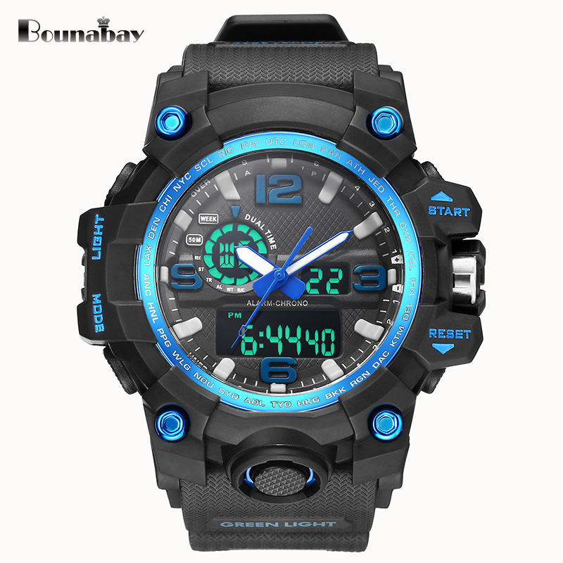 BOUNABAY military men sports watch Waterproof Watches Man Fashion S Shock led Clock sport army Male Clocks Relogio Masculino