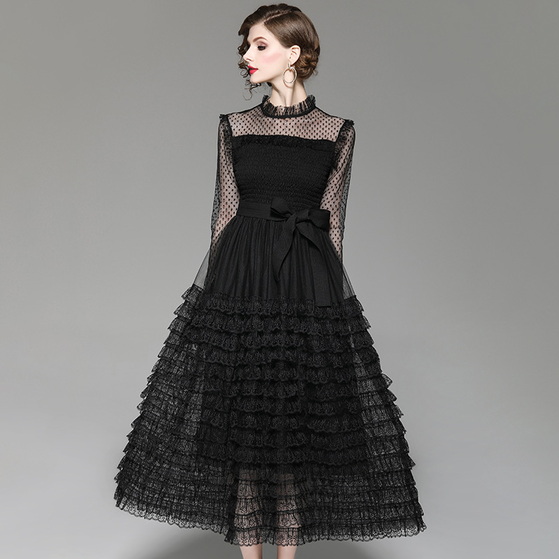 Brand Runway Designer Spring Dress 2019 Women Fashion Long Sleeve Black Sexy Dress Elegant Ruffles Layered