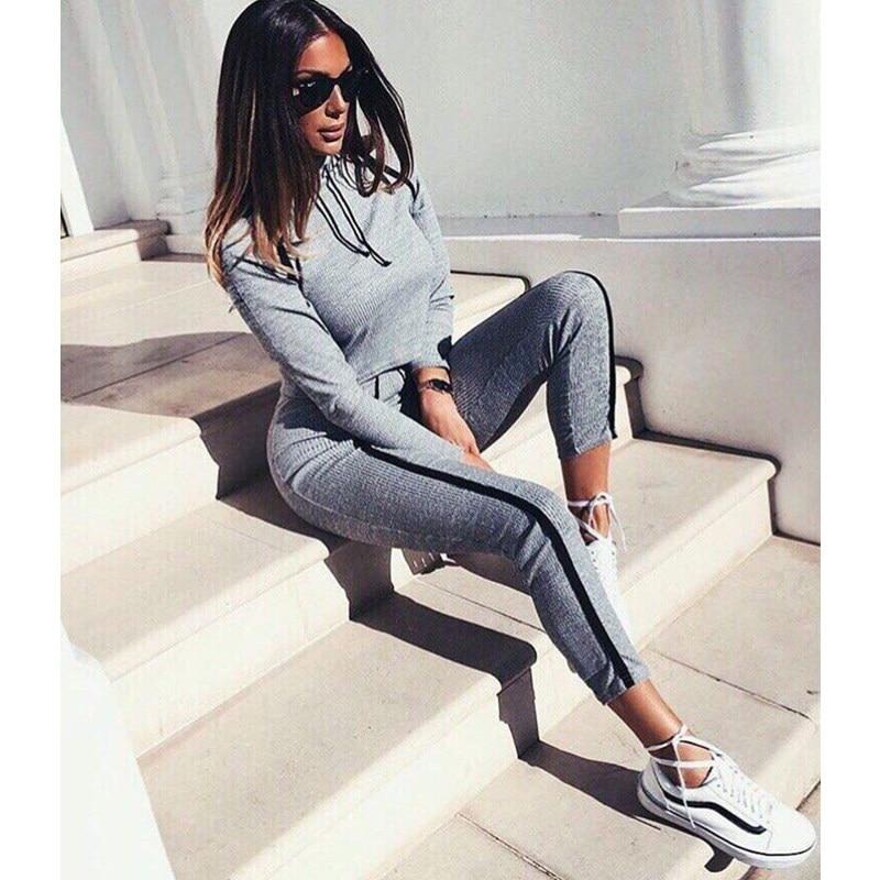 ZP 2019 Tracksuit 2pcs Women Set Hoodies Crop Top Sweatshirt+Side Stripe Pants Hooded 2 Pieces Sets Women Clothing Suits Female