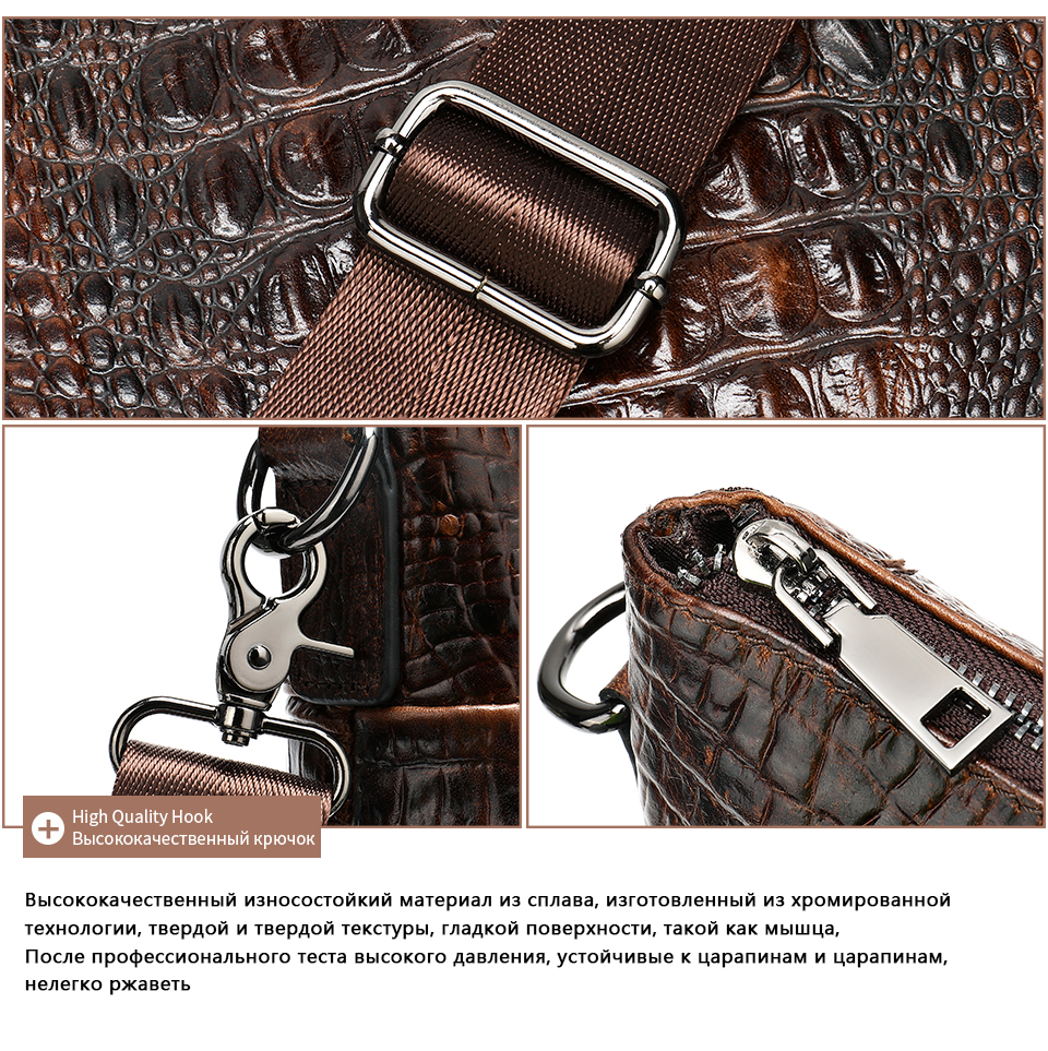 WESTAL Men Briefcase Men's Bag Genuine Leather Office Bags for Men Laptop Bag Leather Briefcase Men Croco Design Computer Bags