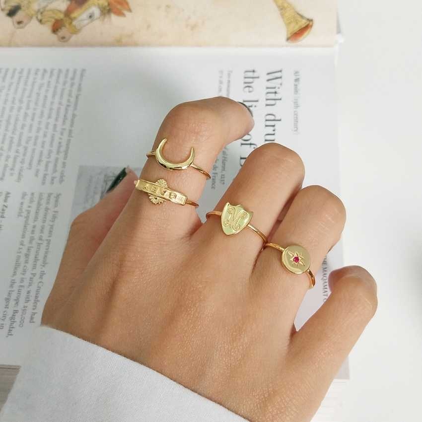 S925 Silver 18K Gold Generous Open Ring 4pcs/Set Girls Party Initial Baby Moon Star Shield Simple Design Rings For Women Finger