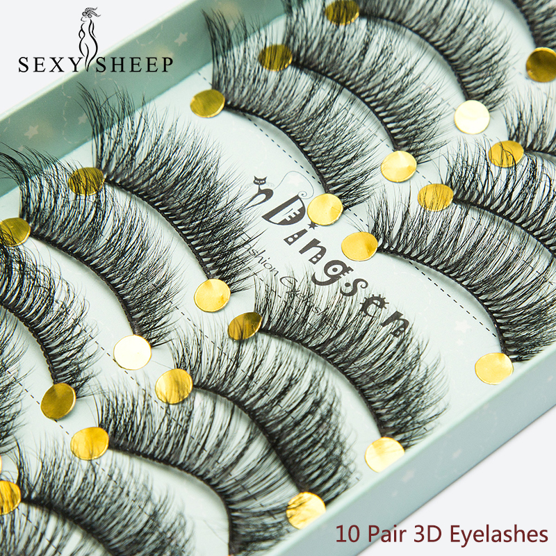 SEXYSHEEP 10 Pairs Soft 3D Faux Mink Eyelashes Natural Black Gorgeous 3D Long Cross False Eyelashes Eye Lashes Handmade Dropship