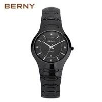 BERNY Famous Brand 2017 New Arrival Role Luxury Black Ceramic Watch Men Bracelet Waterpoof Male Clock