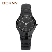 BERNY Famous Brand 2017 New Arrival Role Luxury Black Ceramic Watch Men Bracelet Waterpoof Male Clock