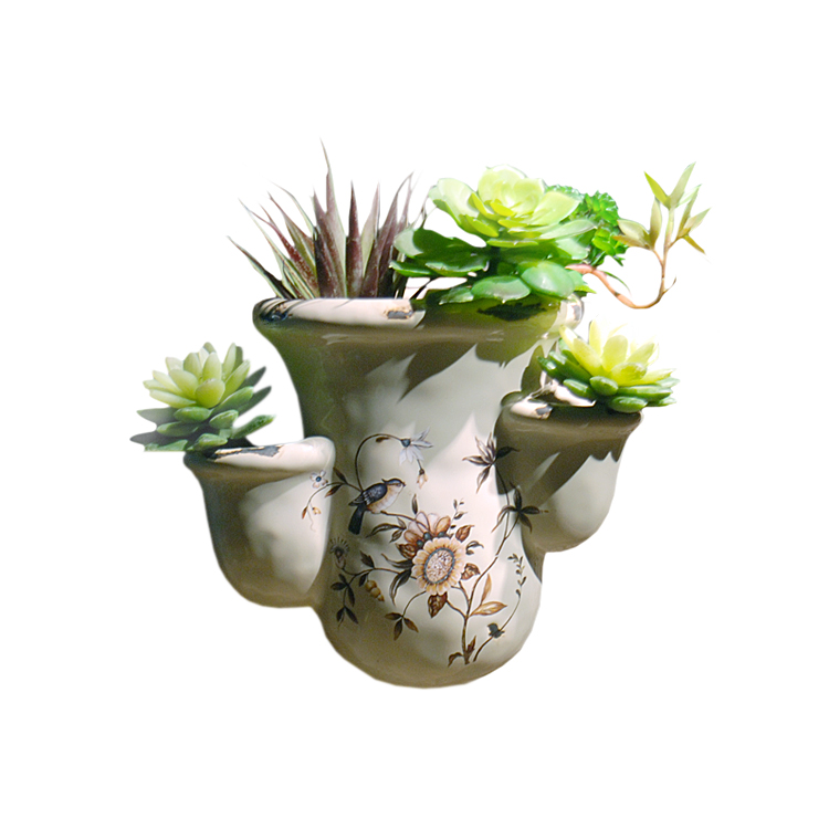 American wall-mounted fleshy planting pots personalized ceramic flower tea restaurant, coffee shop bar, home wall decoration(China)