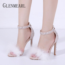 Brand Women Sandals Summer Shoes High Heels Rhinestone Pearl Woman Wedding Shoes Peep Toe Ankle Strap Female Sandals Plus Size