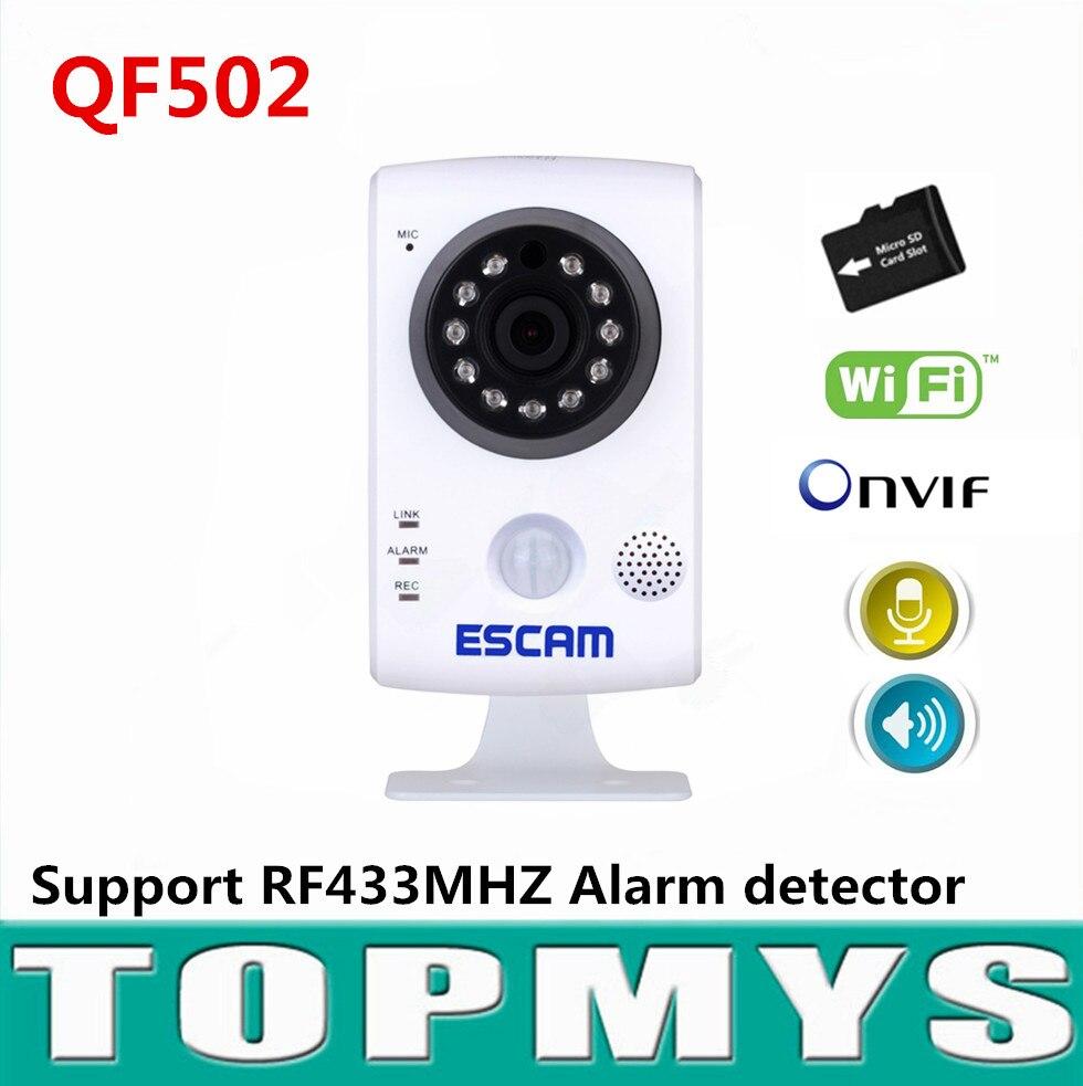 Escam mini IP camera QF502 720P HD 1MP P2P home security CCTV camera support RF433HZM alarm Built in TF card slot Onvif H.264 escam patron qf500 hd 720p mini ip camera onvif p2p wirless wifi home security cctv camera with door sensor support 64gb tf card