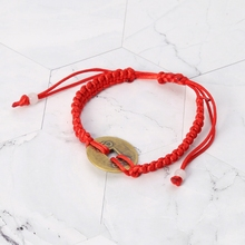 Chinese Feng Shui Wealth Lucky Copper Coin Pendant Red String Bracelets Jewelry