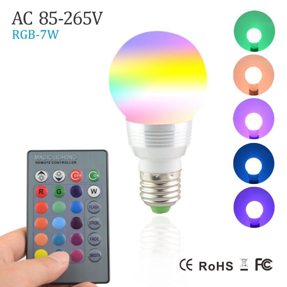 NEW 7W RGB Lampada LED Bulb E27 85 265V RGB LED Lamp E27 220V 110V Spotlight Lamparas LED Light     -> Lampada Led Rgb