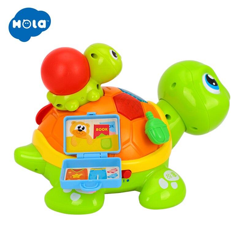 HOLA 868 Parent-enfant tortue Interactive B/O électrique Animal Puzzle tortue bambin ramper bébé jouets pour 6M + - 6