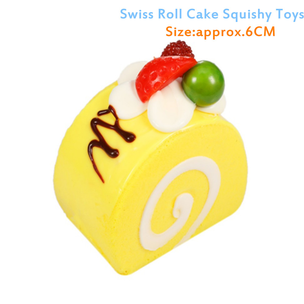 1Pc Squeeze Toys Japan Fruit Cream Swiss Roll Cake buns Kawaii Squeeze Slow Rising Bread Squeeze Toys Christmas Gifts