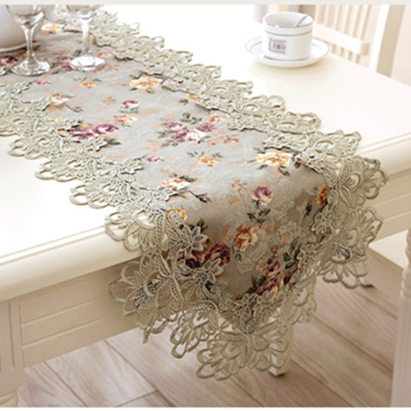 Top Elegant European Style Embroidery Lace Table Runner Pastoral Print Runner Princess Home Decoration Table Runners Placemats