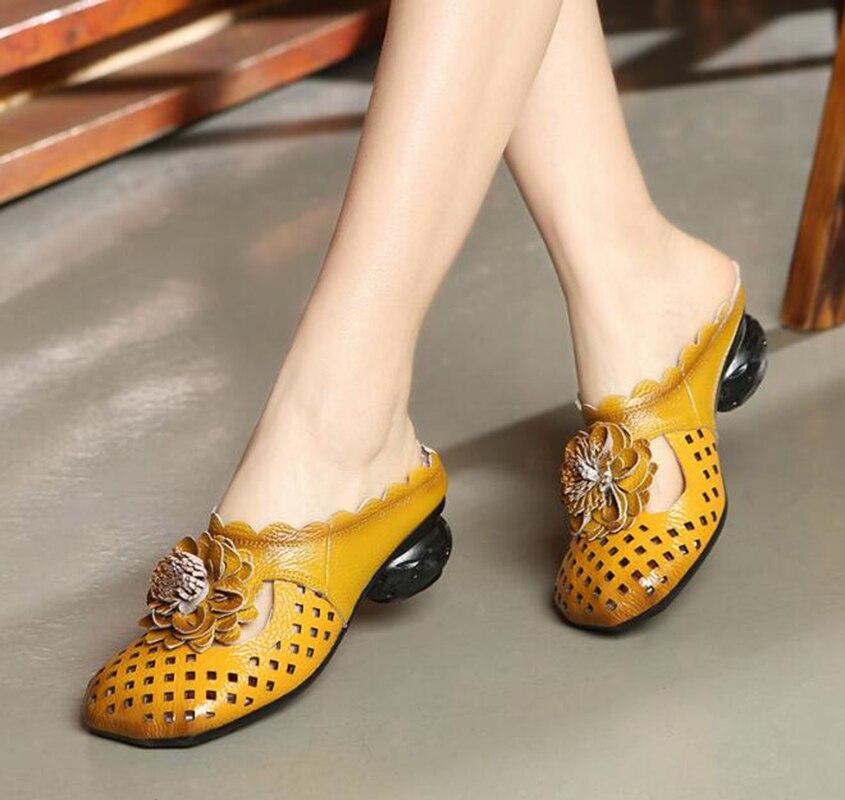 Chaussures Bois Ethnique Nouveau Avec Été Style Plage yellow Cuir Wedgie Femmes Occasionnel Brodé Semelle Pantoufles Black Sandales Et Fleurs gray En T6qwdq