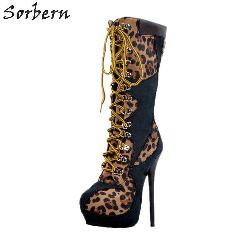 Boots Women High Thin Heels Mid-Calf Boots Plus Size Botas Mujer 2017 New Arrive Lace Up Boots Leopard Sexy Shoes stylish women s mid calf boots with solid color and fringe design