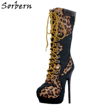 Boots Women High Thin Heels Mid Calf Boots Plus Size Botas Mujer 2017 New Arrive Lace Up Boots Leopard Sexy Shoes