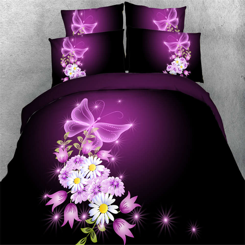 floral butterfly bedding bed sets 3D print pink and black comforter doona quilt duvet cover queen king twin kid bed linen sheet