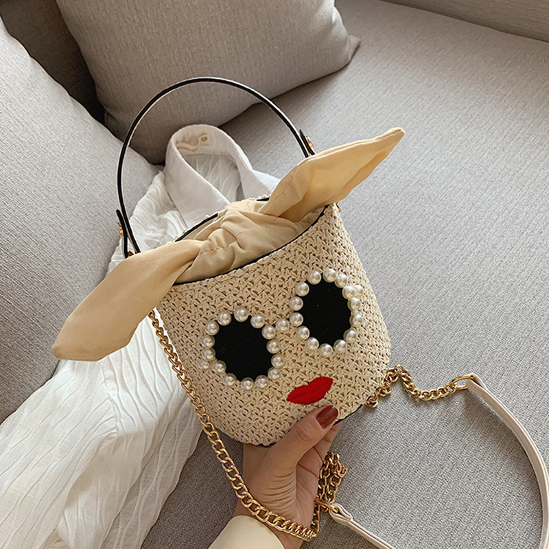 2019 Fashion Bucket Beach Bag Women's Designer Handbag Classic Ladies Travel Straw Tote For Female Chain Shoulder Crossbody Bags