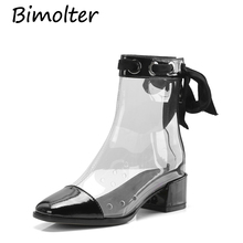 Bimolter 2019 Women PVC ankle Boots New Hot Sale Transparent Patent Leather Shoes high heels Tzip women boots NB085