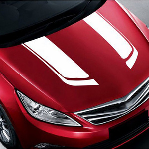 Image 5 - 1 par de pegatinas y calcomanías de coche de rayas de cubierta de motor deportivo, accesorios de vinilo para coches de carreras de Estilo Universal