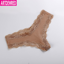 ARTDEWRED Big Lace Women Sexy Panties Low Waist Hollow Pink Panties Underwear Cotton G String Thongs Size XS S M L XL Tanga