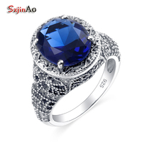 Szjinao Russia Victoria Skull Rings For Women Sapphire Vintage Round Sapphire 100% 925 Sterling Silver Jewelry Wholesale
