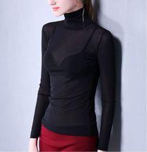 Size S-XXXL Women Turtleneck Sexy Slim Soft Full Sleeve Semi-transparent T Shirts Lady Mesh Elegant Elastic Tops Tees