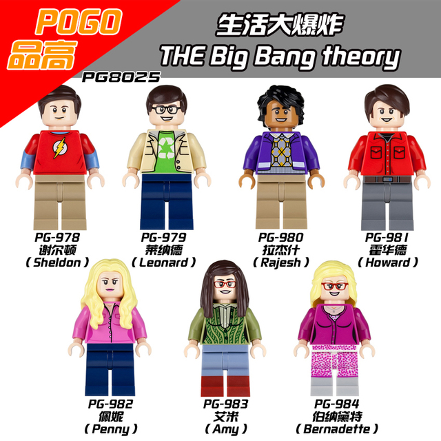 PG8025 The Big Bang Theory TBBT Sheldon Leonard Penny Howard Rajesh Amy Bernadette Leslie Building Blocks Giocattoli per i bambini