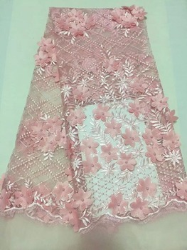 2018 latest lace fabric high quality african 3d flower mesh lace fabric french tulle net lace fabric for dress CHY066