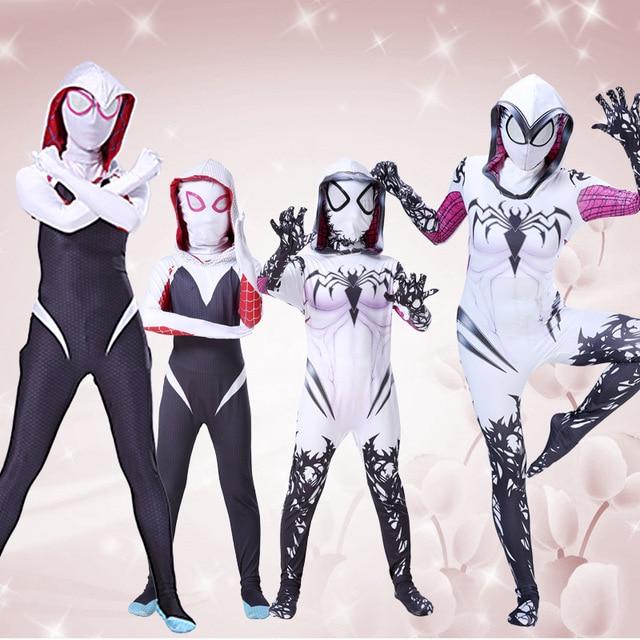 Hot movie Gwendolyn Maxine Stacy Gwen Stacy Spider Gwen Cosplay Costume Adult  Zentai Superhero Bodysuit Suit Jumpsuits