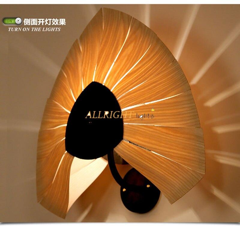 Bois naturel pour ventilateur/amour coeur abat jour mural lampe avec fer en métal nouvelle décoration style souutheast pour café bar - 2