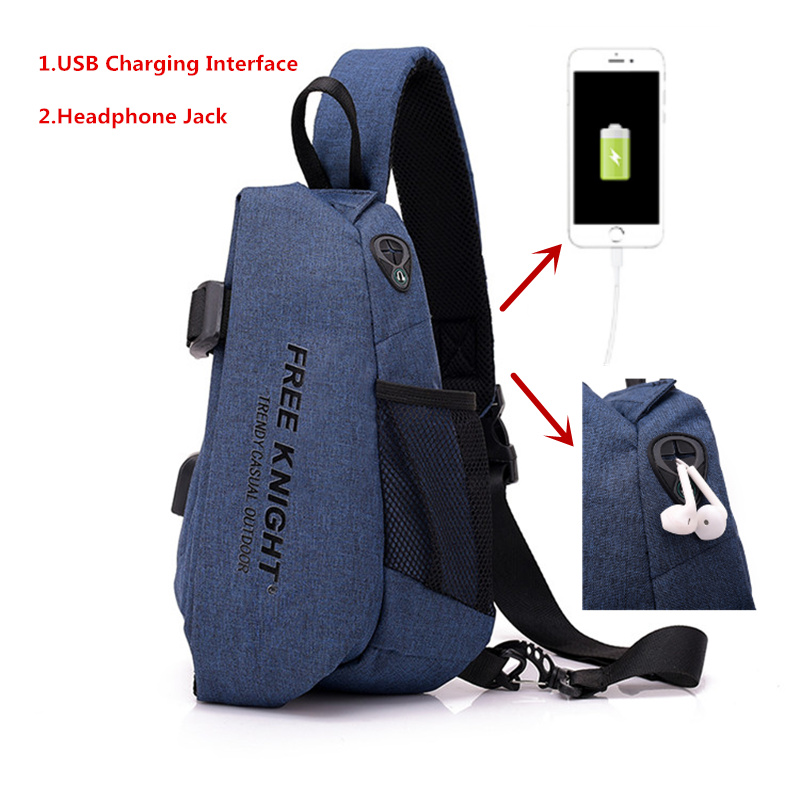 Men Waterproof USB Charging Chest Bag Travel Crossbody Bag Anti Theft Sports Shoulder Bag Boy Messengers Bag With Headphone Jack