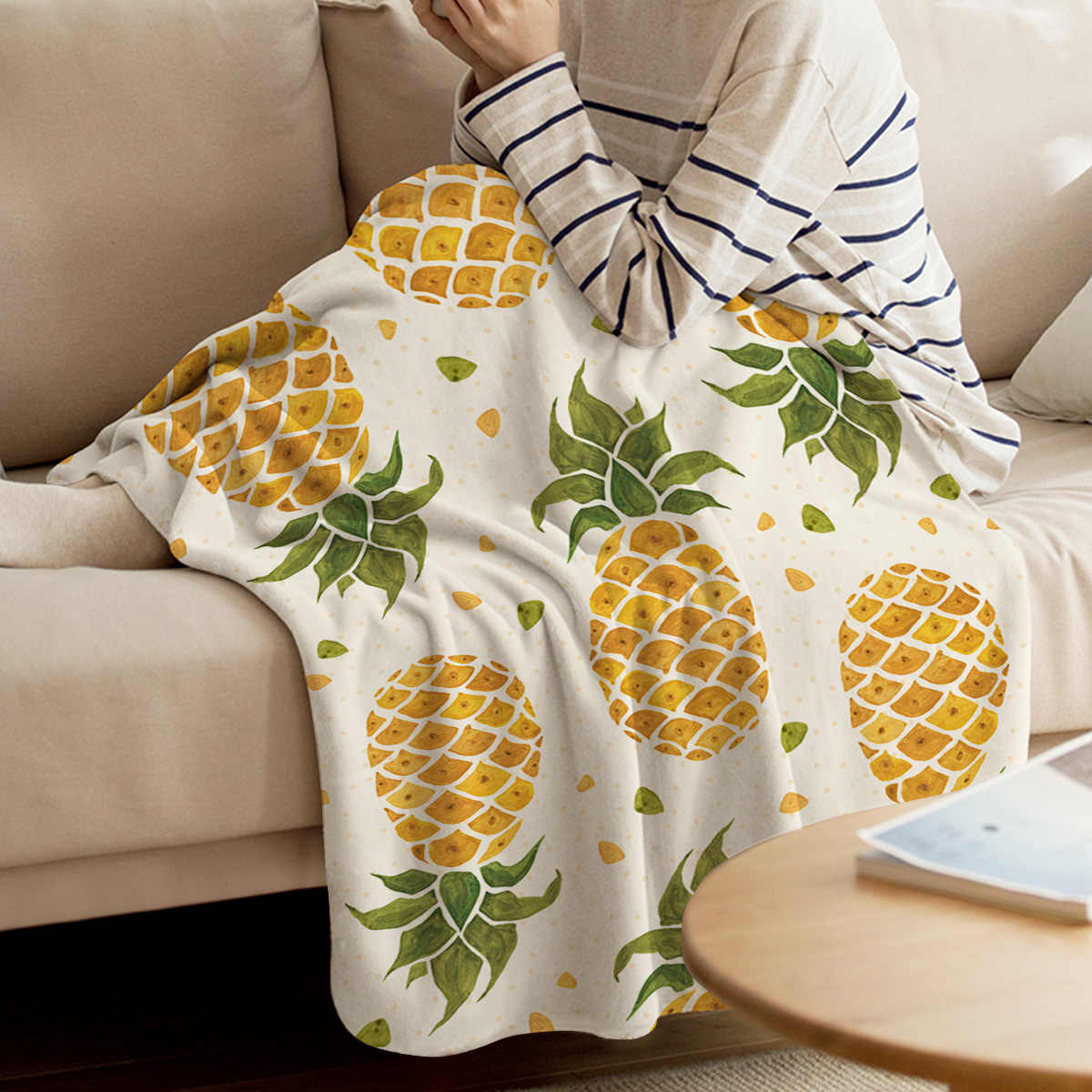 BIGHOUSES rzut koc owoce ananasa rzut koc miękki ciepły koc z mikrofibry flanela koc