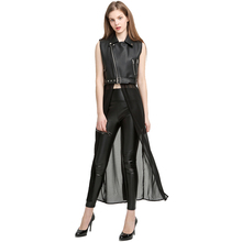 Motorcycle Leather Long Chiffon Patchwork Sleeveless Jacket Women Punk Leather Vest Long Zipper Casual Outwear Leather Jacket