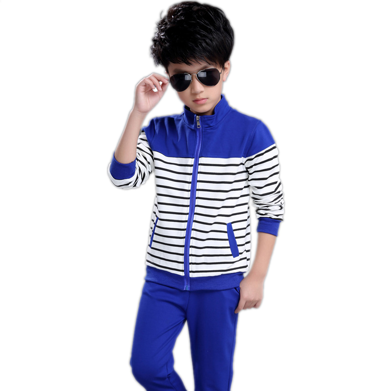 toddler boys clothes 2018 spring boys clothes sets long sleeve stripe children clothing boys sports suit kids tracksuits 5-14T new spring kids clothes navy long sleeve pullover striped sports suit casual boys clothing set z249