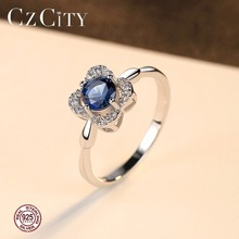 Blue Sapphire 925 Sterling Silver Flower Cubic Zirconia Ring