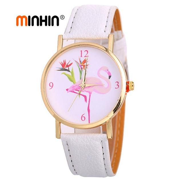MINHIN New Fashion Women's Watches Wristbands PU Leather Bracelet Flamingo Pattern Gold Watches Quartz Watch Femme Reloj