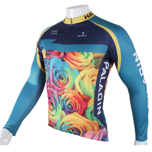 Free shipping New Roses Men Polyester Blue Breathable Long Sleeve Cycling Clothing Size S To 6XL