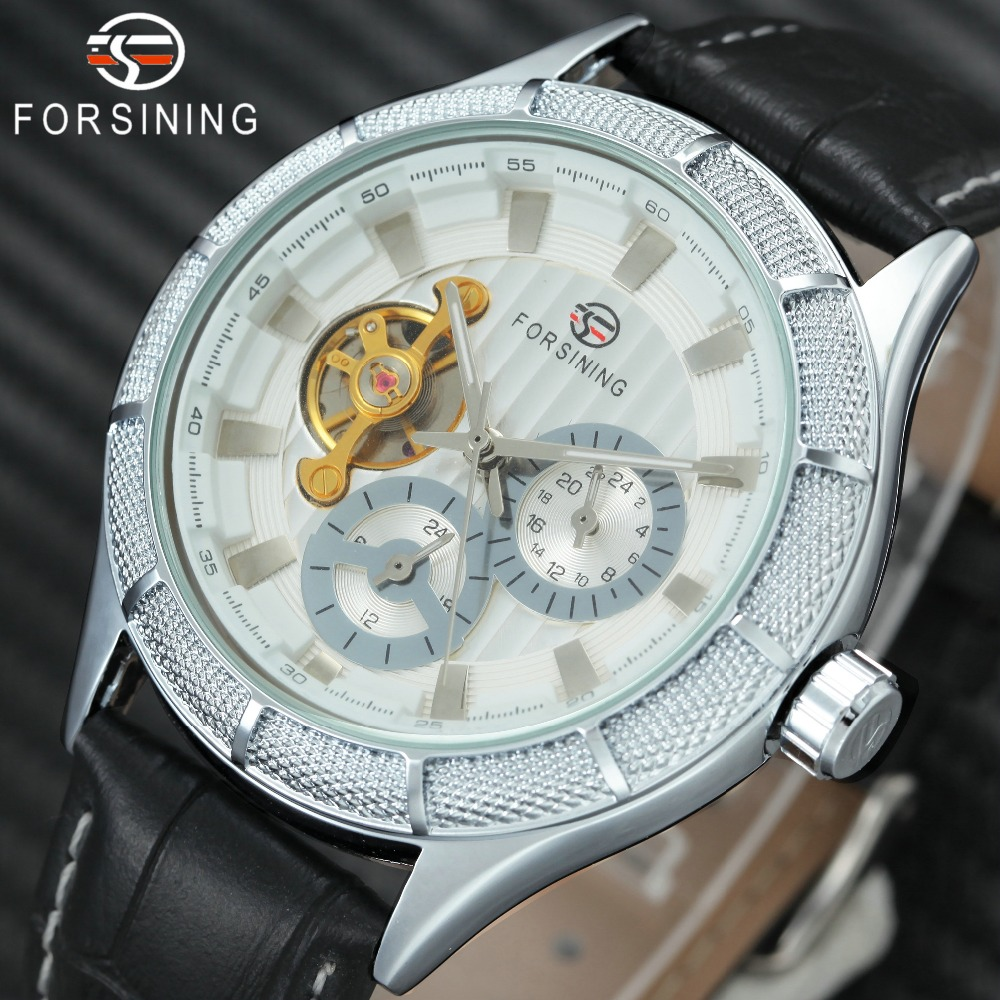 Men's Automatic Mechanical Wrist Watches Tourbillon 24-hour Sub-dial Design FORSINING Top Brand Luxury Men Watches Leather Strap top luxury brand winner men s tourbillon wrist watches leather band men s automatic mechanical watch sub dial calendar date